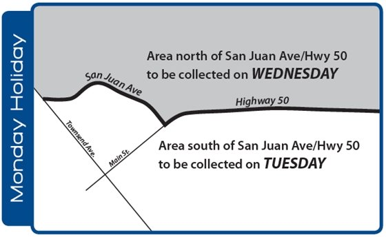 Alternative trash collection days for Monday holidays